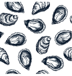 hand drawn oyster shells seamless pattern package vector image