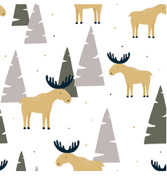 Hand drawn seamless pattern with funny elk in a vector