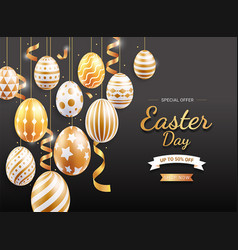 happy easter day easter eggs gold color vector image