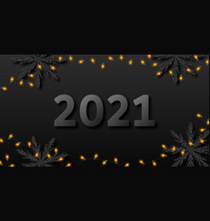 happy new year 2021 card dark party banner with vector image