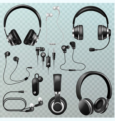 headphones headset and earphones stereo vector image