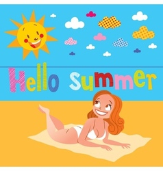 Hello summer pretty girl sunbathing on the beach vector image