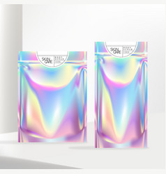 Holographic or iridescent neon zipper pouch vector