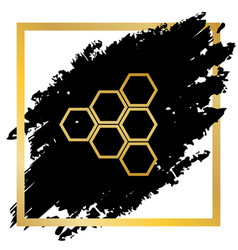 Honeycomb sign golden icon at black spot vector