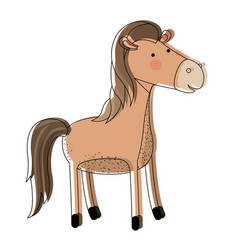 Horse cartoon watercolor silhouette in white vector