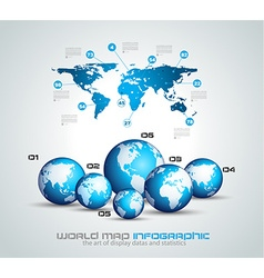 Infographic teamwork and brainstorming with World vector