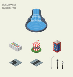 Isometric city set of flower decoration street vector
