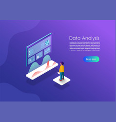 isometric data analytics concept banner can use vector image