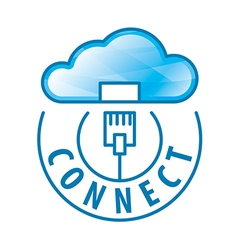 logo cloud connection to network vector image