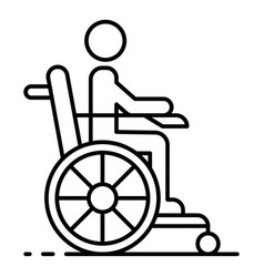 Man in wheel chair icon outline style vector
