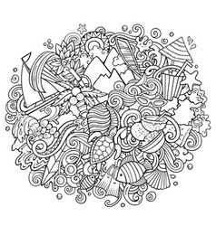 Mauritus hand drawn cartoon doodles vector