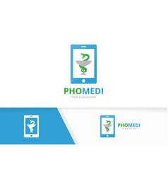 medicine and phone logo combination vector image