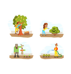 men and women harvesting watering plants vector image