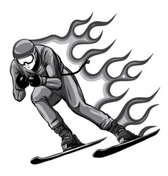 monochromatic silhouette a skier jumping vector image