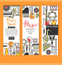Music band concert musical instruments banners vector