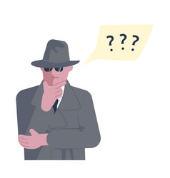 Mysterious man solves riddle or problem vector