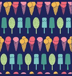 Navy ice cream stripes seamless pattern vector