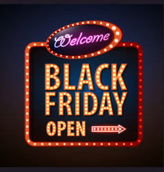 neon sign black friday open vector image