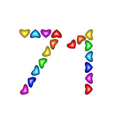 number 71 seventy one of colorful hearts on white vector image