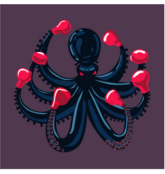octopus boxer sport mascot animal cartoon vector image