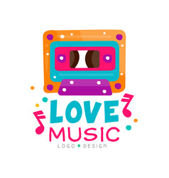 original logo with bright-colored cassette and vector image