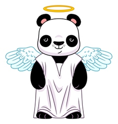 Panda in angel suit vector