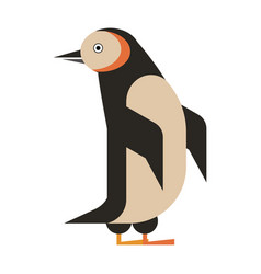 Penguin aquatic bird geometric icon in flat vector