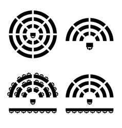 people icon on round table in black color vector image