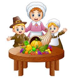 pilgrim family with cornuco vector image