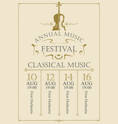 poster for the annual festival of classical music vector image
