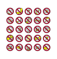 Prohibition sign filled outline icon set vector