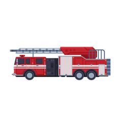 red engine fire truck with ladder emergency vector image