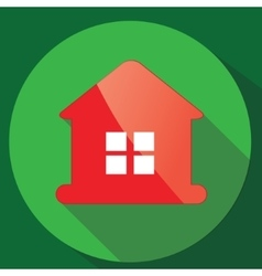 Red glance house icon in flat design vector