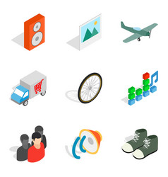 Remote trade icons set isometric style vector