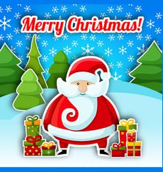 Santa claus christmas postcard vector