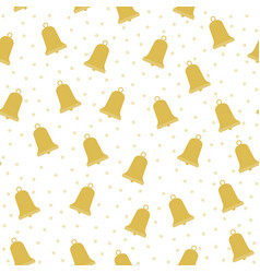 seamless pattern with gold christmas bells vector image