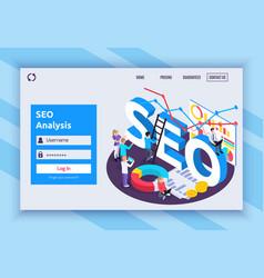 Seo isometric page design vector