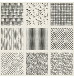 Set hand-drawn monochrome pattern vector