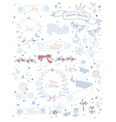 Set of Christmas and decorative elements vector image vector image