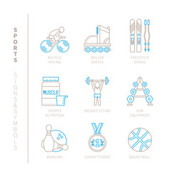Set of sport icons and concepts in mono thin line vector