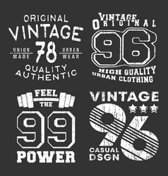 Set vintage t-shirt print stamp for t shirt vector