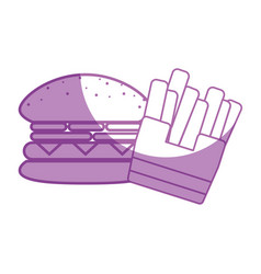 Silhouette tasty hamburger with fries french fast vector