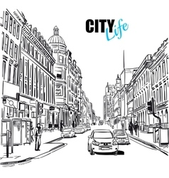 Sketch city street vector