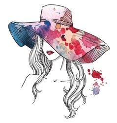 Sketch of a girl in a hat vector