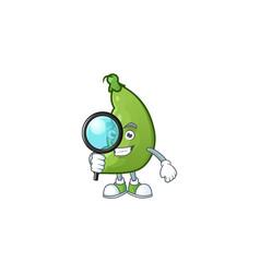 Smart one eye broad beans detective cartoon vector
