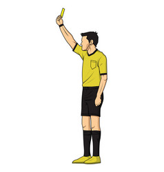 soccer referee showing yellow card vector image