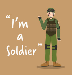 soldier character with armor on brown background vector image vector image