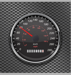 speedometer on metal perforated background 80 km vector image