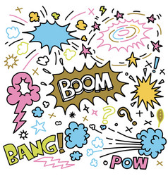 Sticker icons hand drawn doodle boom balloon vector