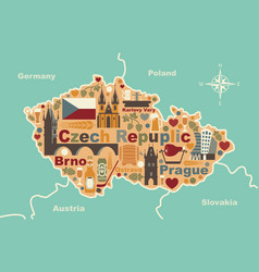 Stylized map of czech republic vector